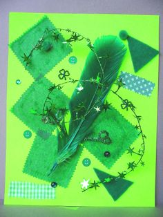 """Creative Preschool Time: A green collage - full of individual expression (invited families to send in """"green"""" materials to use for the collages) ...connect to my many coloured days by dr. Seuss and/or poetry writing"""