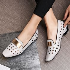 Cheap ladies pumps, Buy Quality shoes ladies directly from China square toe Suppliers: New Spring Square Toe Metal Decorationl punch women's shoes lady Pumps Heeled Loafers, Loafer Shoes, Shoes Sandals, Toe Shoes, Winter Shoes, Shoe Collection, Women's Pumps, Me Too Shoes, Black Shoes