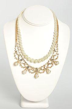 Tiara Time Pearl and Rhinestone Necklace at LuLus.com! #lulus #holidaywear