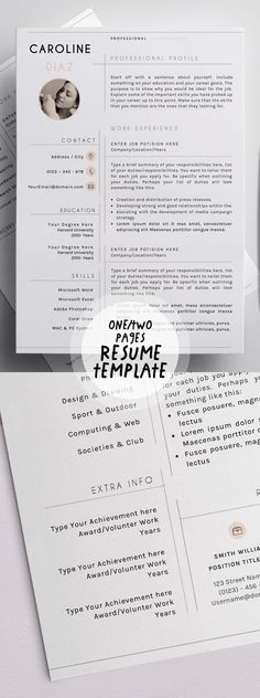 Two Pages Clean Resume \/ CV Template INDD, PSD Resume Templates - psd resume templates