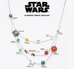 A Star Wars Galactic Necklace Featuring Popular Planets and Spaceships