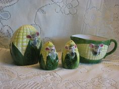 Mouse Mice in Corn cob Salt, Pepper, Cream and Napkin Holders