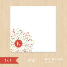 Personalized Sticky Note // Colorful Blooming Blossom with Monogram by k8inked