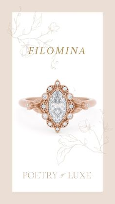 A Marquise Diamond Ring - Halo Diamond Ring- Poetry of Luxe Jewelry Vintage Inspired Engagement Rings, Engagement Ring Styles, Marquise Diamond, Halo Diamond, Wedding Proposals, Paris Wedding, Dream Ring, Fashion Rings, Beautiful Rings