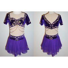 Daiļslidošana Kleitu Competition Ice Skating Dress Purple Short-sleeve Custom Size T484 - Click Image to Close