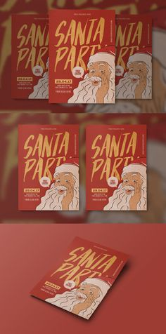 Santa Party Flyer Template PSD #xmas #christmasflyer