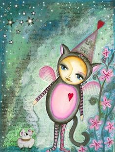Wonderful, whimsical mixed media painting by one of my favorite artists: Tam (willowing)