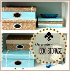DIY Decorative Box Storage - Beautiful paper covered boxes trimmed with lace and  chalkboard labels