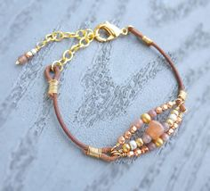 Rose Gold Copper Silver Beaded Leather Bracelet by NonaDesigns, $18.00
