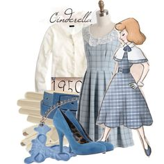 """""""Cinderella 1950"""" by magykgirlz on Polyvore ~ This would be gorgeous for Dapper Day, with maybe some flats to walk around Disney though!"""