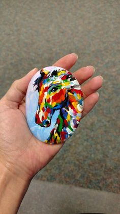 One of my favorite painted rocks I've done so far. An abstract horse rock. Acrylic paint. Rock art. Painted rock. @RocksByMisty #RocksByMisty