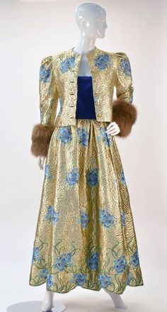 1980s Arnold Scaasi Couture Embroidered Gold Ensemble with Mink Cuffs 2