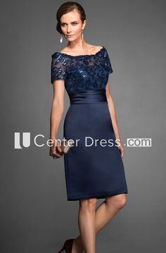 Short-Sleeved Knee-Length Mother Of The Bride Dress With Sequins And  Illusion Style c8ad3b33b40