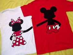 """Mini Version of  Mickey and Minnie Mouse Couples T-Shirts. 12""""  by 12"""""""