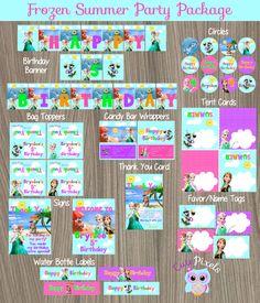 Frozen Summer Party Decorations, Frozen Party Package, Frozen Birthday, Disney Frozen, Frozen Party, Summer Party, Frozen Summer by CutePixels on Etsy https://www.etsy.com/listing/235605210/frozen-summer-party-decorations-frozen