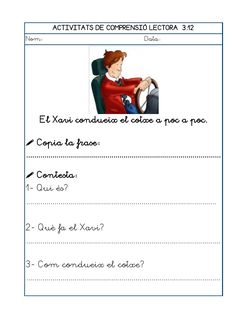 Dori dos 1112_mt005_r1_comprensio_lectora_3 Learning Spanish, Valencia, Teaching, School, Frases, Reading Comprehension, Speech Language Therapy, Vocabulary, Learn Spanish