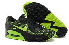 Nike Air Max 90 Black fluorescent green shoes Mens #nikemenrunningshoes