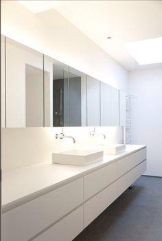 Washroom, White Bathroom, Bathroom Lighting, Bathroom Ideas, Minimalist, Interiors, Cabinet, Interior Design, Mirror