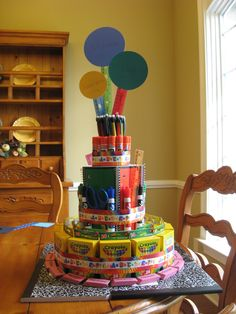 """This is a """"School Supply Cake"""" that I have made in the past. It can get pricey so the best time to make this is when school supplies go on sale at the beginning of the school year. I have made them multiple times in the past and teachers love them. At the beginning of the year I even made one to give away to one family who joined the PTO and one teacher who joined, as an incentive."""