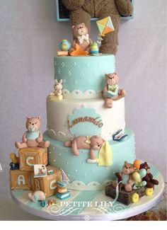 Teddy bear baby shower cake / Bolo para chá de bebê de ursinhos