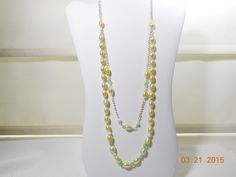 Long pale yellow and green necklace  Long double strand necklace  Chain and bead necklace  Cultured pearl necklace by leaujewls on Etsy