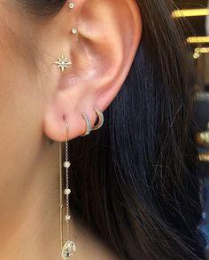 Wirery Ear Cuff, No Piercing Earring, Fake Earring - Custom Jewelry Ideas Moon Earrings, Cartilage Earrings, Rose Gold Earrings, Circle Earrings, Diamond Earrings, Diamond Jewellery, Tragus, Pendant Earrings, Tassel Earrings