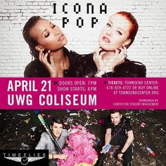 Do you have your tickets? Hope to see you tomorrow at the @iconapop and @timefliesmusic concert at UWG