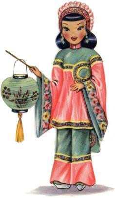 Pretty Retro Chinese Doll! - The Graphics Fairy