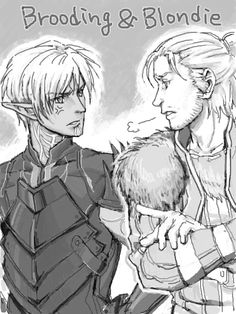Dragon age 2 Brooding(Fenris) and Blondie(Anders)