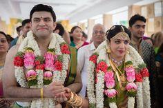 Bhargav and Shweta's wedding at AVM Rajeshwari Mandap in Chennai was like that, Tamil Brahmin Wedding Photography TamBrahm Wedding Across an Atlantic Ocean Saree Wedding, Wedding Shoot, Reception Sarees, Wedding Saree Collection, Atlantic Ocean, Celebrity Weddings, Garland, Wedding Photography, Bridal