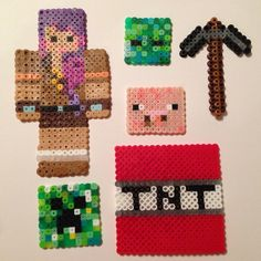 Minecraft perler fuse beads craft idea for the party? Minecraft Oasis, Minecraft Stuff, Minecraft Party, Bead Crafts, Diy And Crafts, Crafts For Kids, Arts And Crafts, Ihascupquake Minecraft, Peler Beads