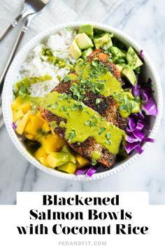 These blackened salmon bowls are an ideal weeknight meal bursting with Caribbean flavor from spicy blackened seasoning sweet mangoes and coconut rice. Gluten Free Recipes For Dinner, Paleo Dinner, Healthy Recipes, Clean Recipes, Healthy Meals, Yummy Recipes, Easy Meals, Salmon Recipes, Seafood Recipes