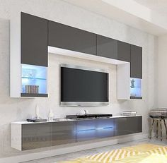 Wohnwand Milano Grau Hochglanz LED Beleuchtung Edge Galaxy Mirage Orion Project … – Anime pictures to hairstyles Living Room Wall Units, Living Room Tv Unit Designs, Living Room Decor, Tv Unit Decor, Tv Wall Decor, Tv Cabinet Design, Tv Wall Design, Tv Unit Interior Design, Tv Wanddekor