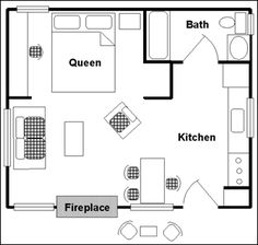 One-room cabin floor plan Individual cabin with 1 queen bed facing and wood-burning fireplace with sitting area and kitchenette, all in the same room, bathroom with walk-in showers. Sitting area & BBQ outside. The Plan, How To Plan, One Room Cabins, Cabins And Cottages, Small Cabins, Cabin Floor Plans, Small House Plans, Guest Cabin, Cozy Cabin