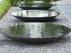 Steel Water Bowl/Garden Water Feature/Dish/Metallic Grey in Water Features In The Garden, Garden Features, Landscape Architecture, Landscape Design, Architecture Geometric, Installation Architecture, Art Installation, Landscape Art, Architecture Design