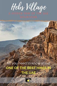 Trvael to UAE and visit more than Dubai. Go on a hike to a mysterious Hebs villgae in Ras Al Khaimah Hajar mountains. | UAE travel | UAE tips | Dubai travel | UAE road trip | UAE hiking #uae #dubai #uaetravel #dubaitravel #hiking Ras Al Khaimah, Dubai Travel, Best Hikes, United Arab Emirates, Hiking Trails, Uae, Mysterious, Road Trip, To Go