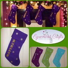 "Personalised Christmas stocking made in your own colours to match your decor  Silver & gold glittered letters and snowflakes. 17"" long approx and the cuff can be turned up for a little added length. These would be £12.99 to order I have 10% discount running on my fayre products too. So don't miss out Link to my page: www.facebook.com/EgremontCrafts"