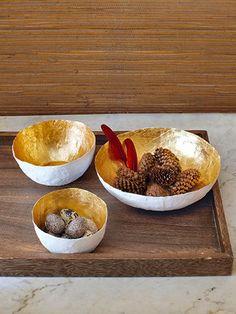 How to make gilded papier-mache decorative bowls.Nx
