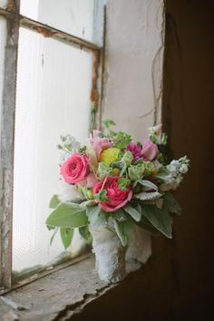 Bride Bouquet - roses, lamb's ear and wrapped with lace