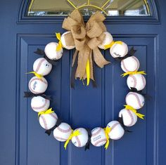 Play Ball! Summer Wreaths: How to Make Baseball Decorations Wreaths. Celebrate your love for America's favorite past time with a sports-themed wreath tutorial. Thanks Etsy Shop Toasty Barker Boutique for the feature. #wreaths #DIY #baseball