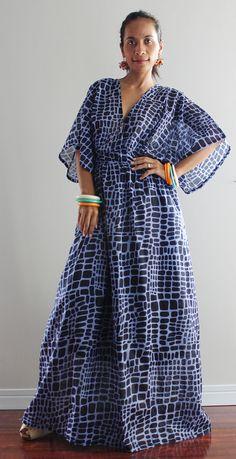 Boho Maxi Dress Kimono Women Kaftan Long Maxi Dress by Nuichan