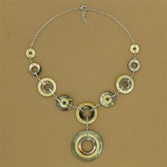 Sterling Silver Yellow & Brown Shell Circle Drop Necklace