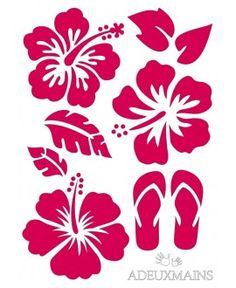 grand sticker hibiscus bleu ciel | plantilles variades | pinterest