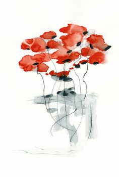 Red Poppy Original Watercolor Painting Abstract by DUEALBERI
