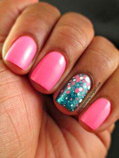 This Flamingo's Not Sari!: Color Club Flamingo, Sephora by #OPI I'm So Sari!, pink, teal, glitter, simple, #dotticure, accent nail, #nailart, nail design, mani