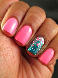 This Flamingo's Not Sari!: Color Club Flamingo, Sephora by #OPI I'm So Sari!, pink, teal, glitter, simple, #dotticure, accent nail, #nailart, nail design, mani