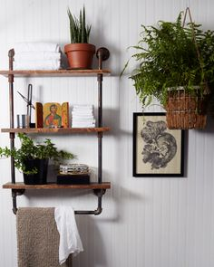 Open bathroom shelving