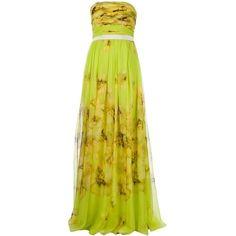 GIAMBATTISTA VALLI floral strapless maxi dress via Polyvore