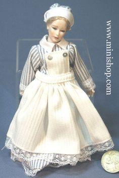House Servant Woman in Uniform Apron, w/Blonde Hair - Dollhouse Doll.