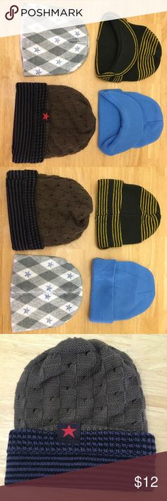 Boys winter hats 4- winter hats for boys in a good condition, I think all are made of 100% acrylic Accessories Hats